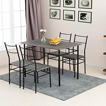 Grey Wooden Dining Table Set