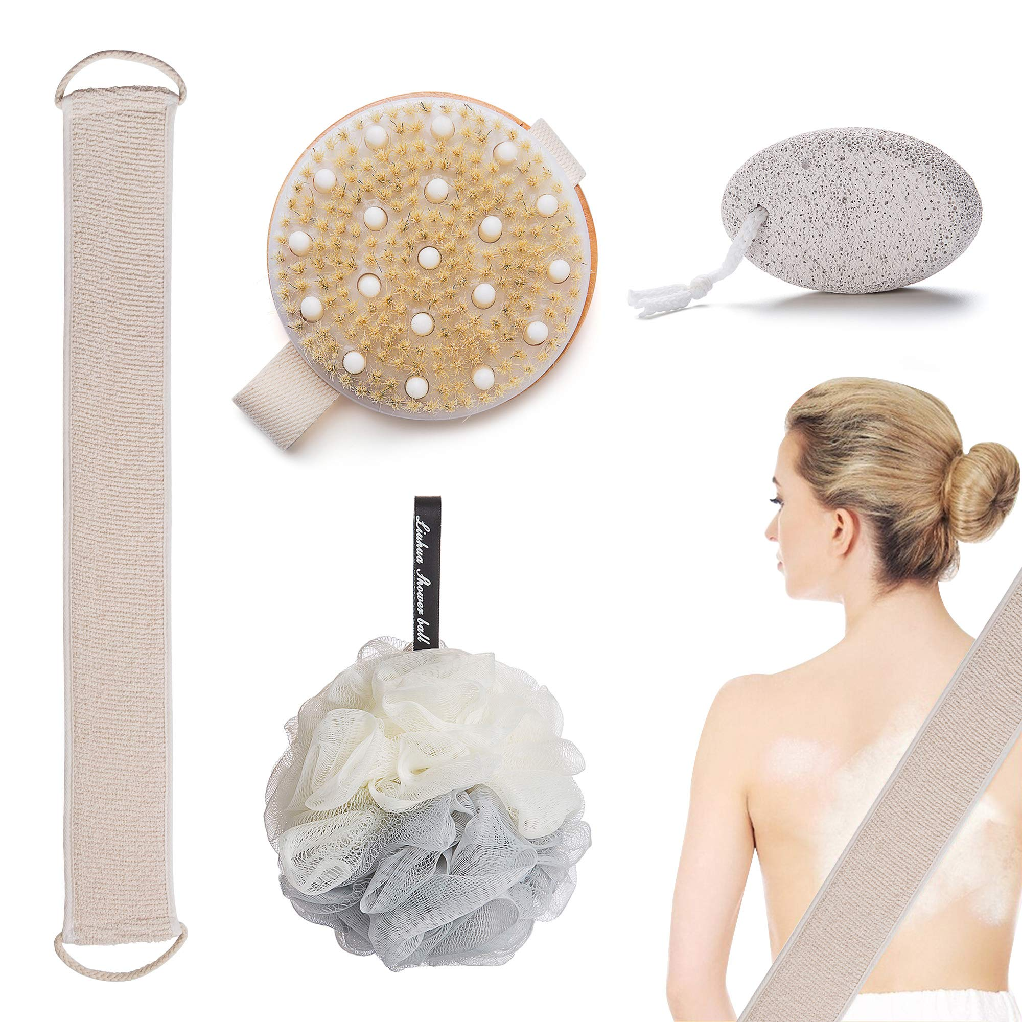 4 Pcs Bath Set Back Scrubber for Shower Pumice Stone for Feet