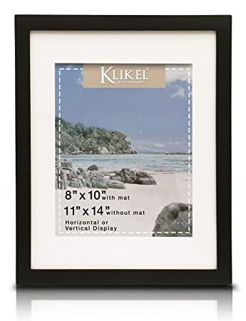 Amazoncom Klikel 8 X 10 Picture Frame Black Wooden Matted Wall