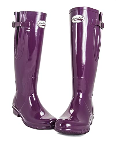 AWARD WINNING BOOTS, Rockfish Ladies Wellies Mulberry Gloss Finish - EXTRA  WIDE CALF FIT (