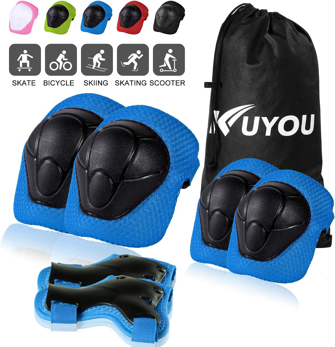 KUYOU Kids Protective Gear, Knee Pads Elbow Pads with Wrist Guard for Skateboarding Inline Roller Skating Cycling Biking BMX Ski Scooter