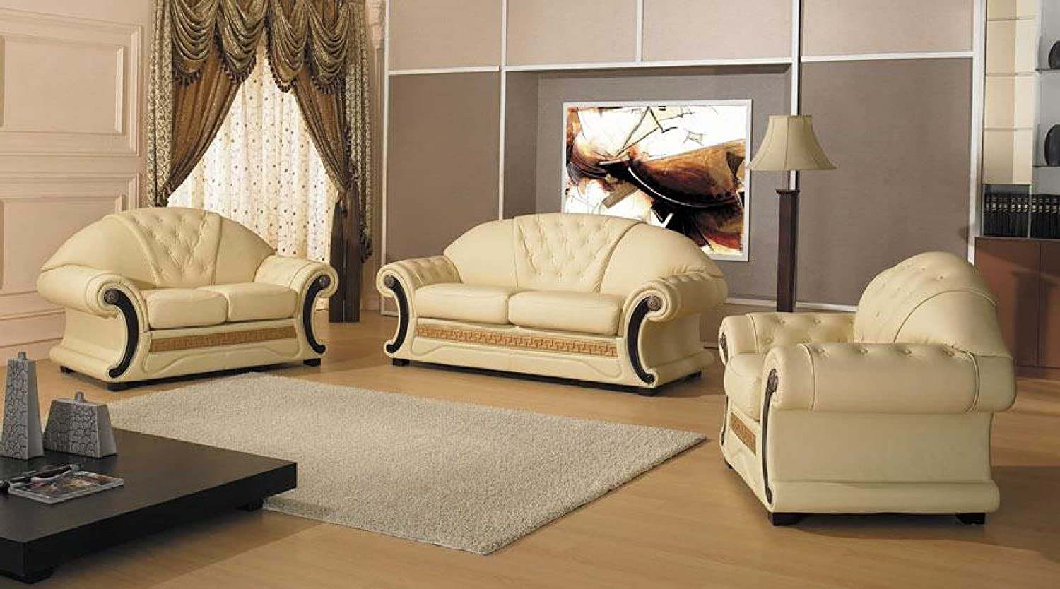 Amazon.com: Vig Furniture Cleopatra   Traditional Leather Sofa Set: Kitchen  U0026 Dining