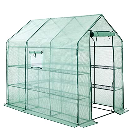 SONGMICS Invernadero para Jardín 14 Estantes Caseta para Tomates Flores Cultivos 143 x 215 x 195