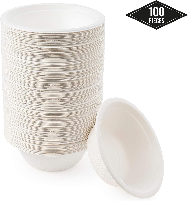 100 Cuencos de Papel de Caña de Azúcar Desechables, 350ml - Ecológicos Biodegradable Compostable| Resistente e Impermeable - Apto para Microondas - Alternativa Natural al Plástico.