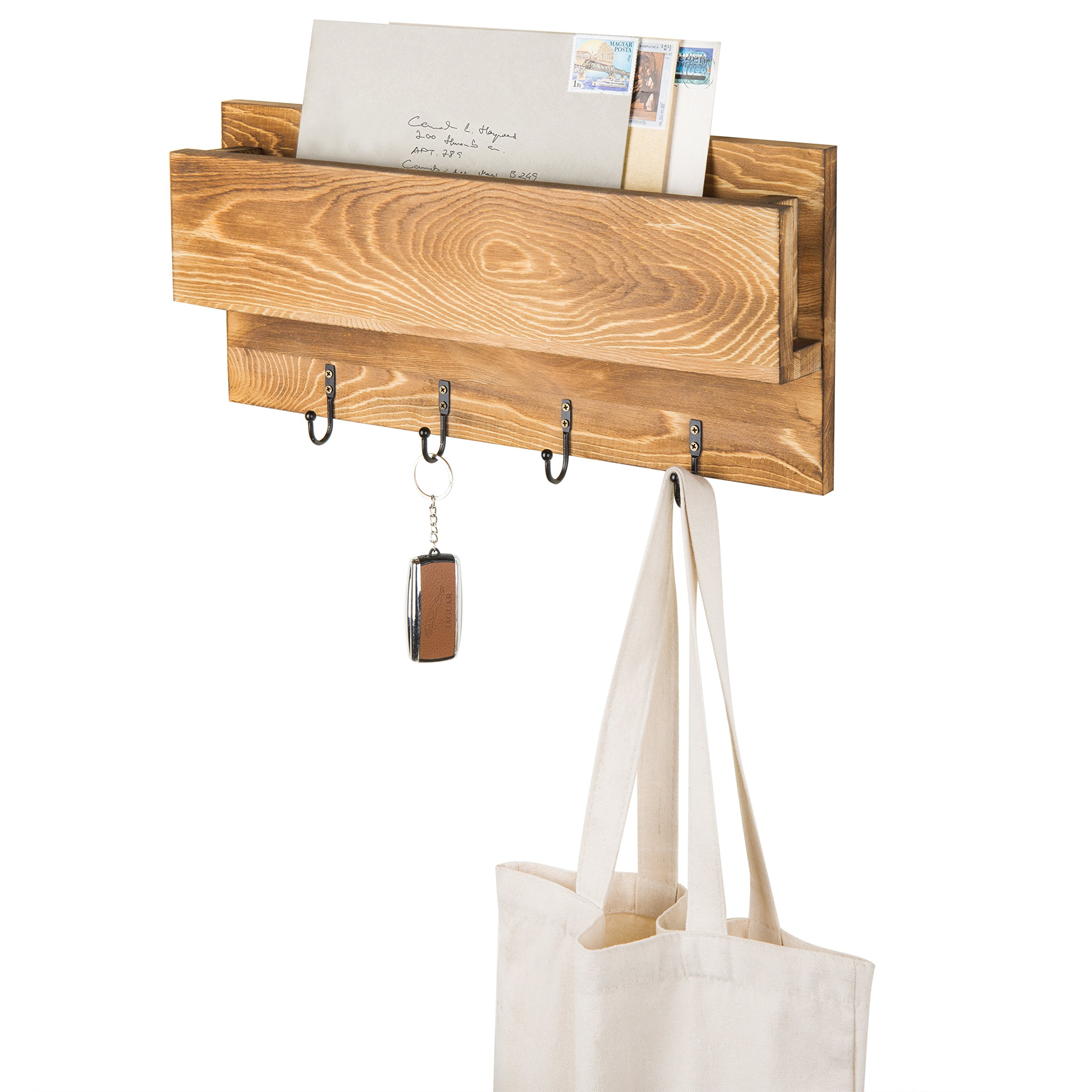 MyGift Wall-Mounted Burnt Wood Mail Sorter with 4 Key Hooks