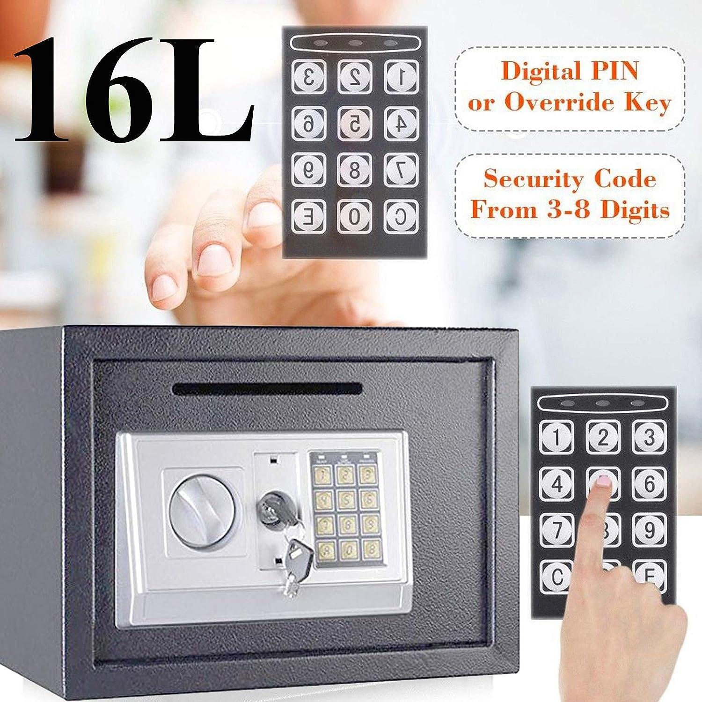 Digital Safe - Caja Fuerte de Seguridad para Joyas, Armas y Otros Objetos de Valor, con 2 teclados electrónicos de 16 l, Color Gris: Amazon.es: Bricolaje y herramientas