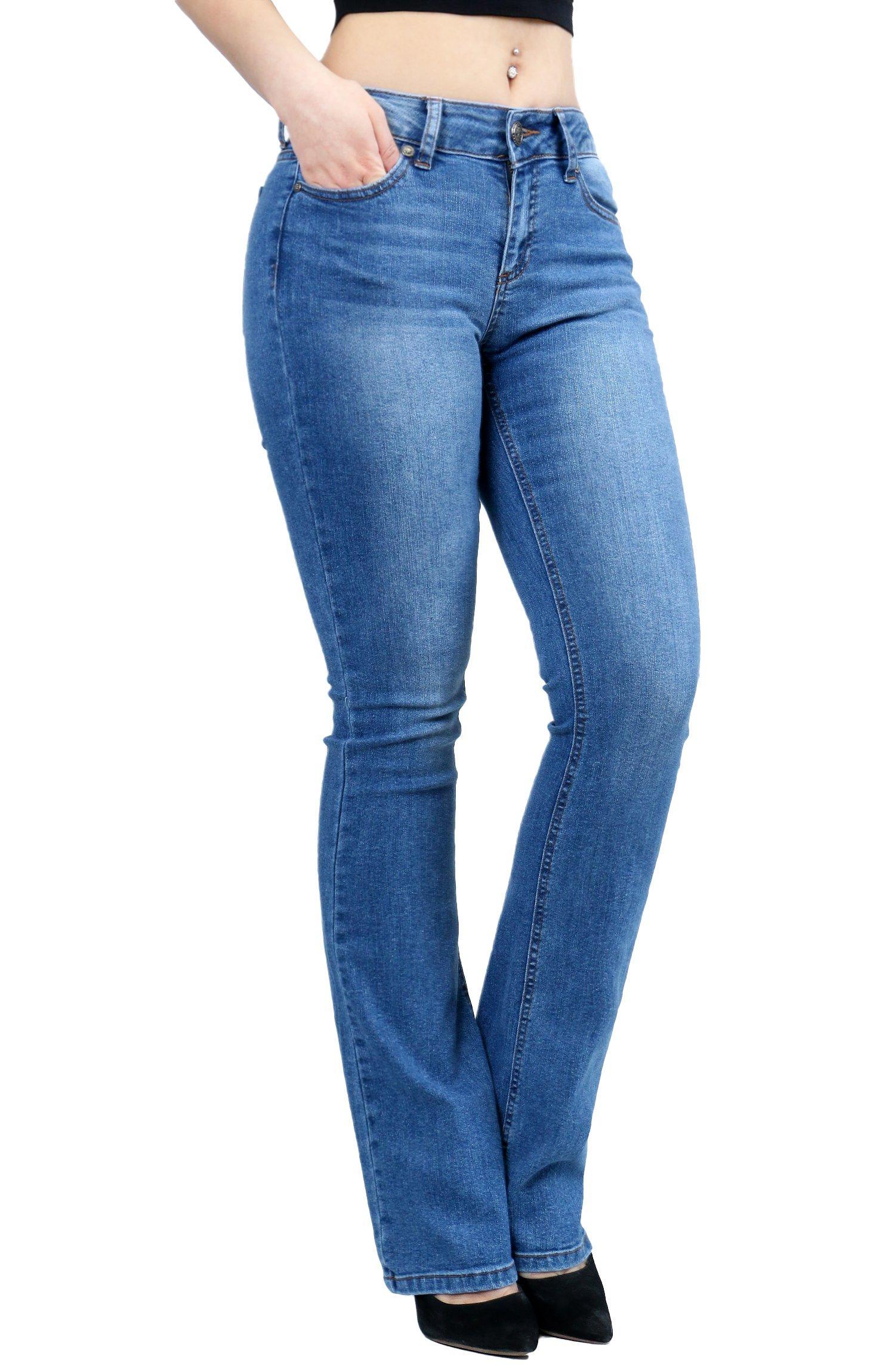 Women Fashion Trendy Sexy High Waisted Stylish Flare Bell Bottom Jean SIZE-3 DENIM-91000