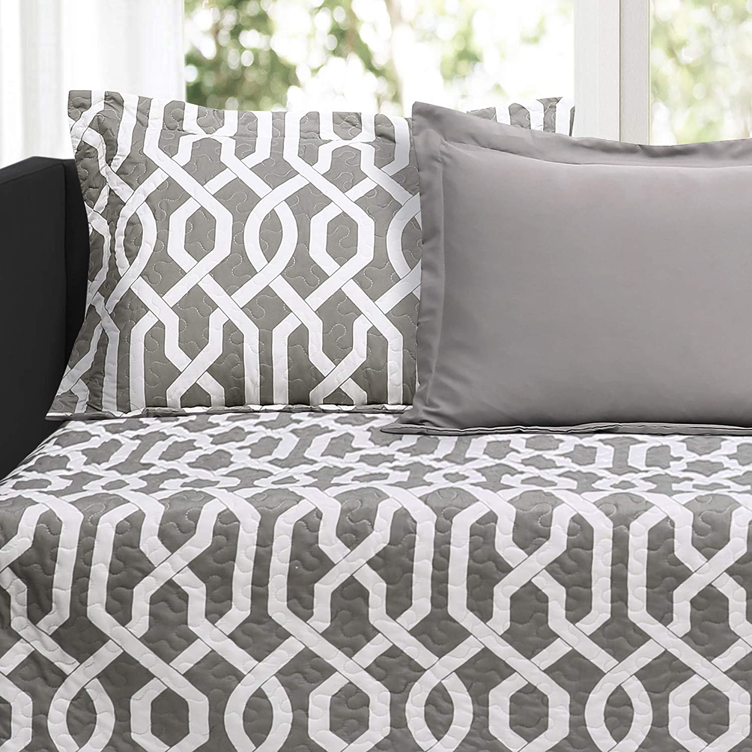 Pillow Shams and Cases Lush Decor Edward Trellis Patterned 6 Piece Daybed Cover Set Includes Bed Skirt 75 X 39 Gray and White