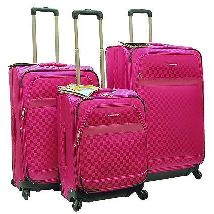 "d9d2e2b55 ""E-Z Roll"" Brand 4 Wheels Spinner Checker Pattern 3 piece/Set  Luggage"