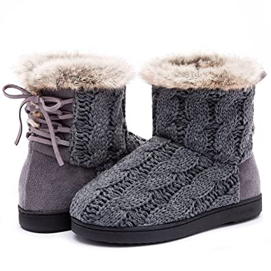 Women's Soft Yarn Cable Knit Bootie Slippers Memory Foam Indoor & Outdoor Shoes w/Adjustable Suede Lace