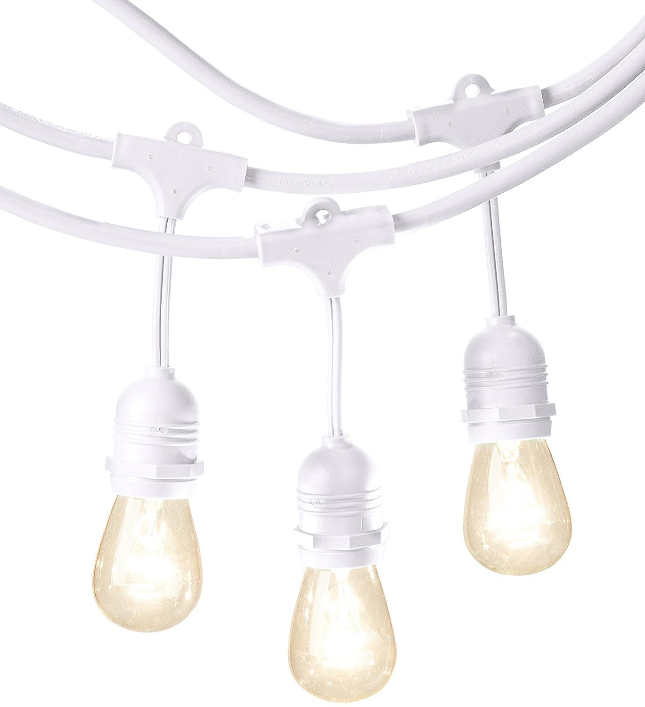 AmazonBasics Weatherproof Outdoor Patio String Lights S14 Bulb, White, 48-Foot