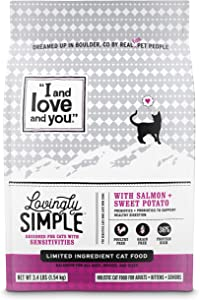 I and love and you Lovingly Simple Dry Cat Food - Grain Free Limited Ingredient Kibble, Salmon + Sweet Potato, 3.4-Pound Bag