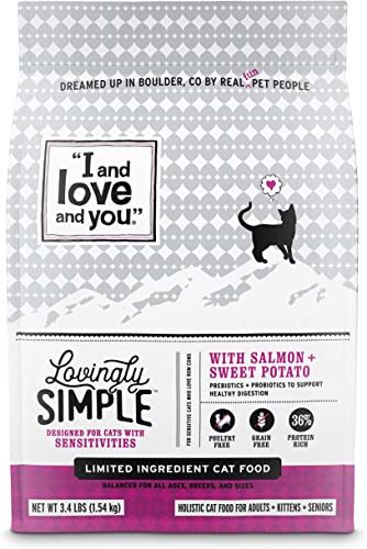 I and love and you Lovingly Simple Dry Cat Food – Grain Free Limited Ingredient Kibble, Salmon Sweet Potato, 3.4-Pound Bag