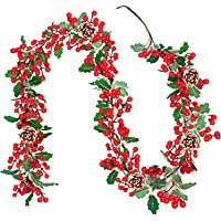 TURNMEON 6 Foot Christmas Red Berry Garland Decoration with 304 Red Berries, 105 Ivy Leaves, 5 Pine Cone Artificial Garland Xmas Decoration Indoor Home Mantle Fireplace Holiday Decor