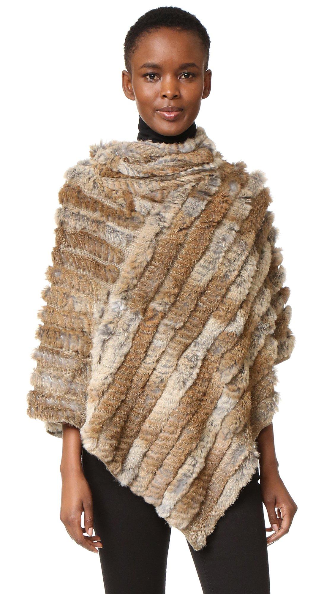Adrienne Landau Women's Knit Fur Poncho, Goma Brown, One Size