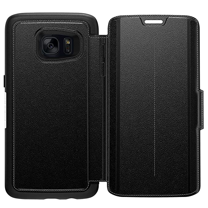 reputable site a2c17 8d6d0 OtterBox STRADA SERIES Leather Wallet Case for Samsung Galaxy S7 Edge -  Retail Packaging - PHANTOM (BLACK/BLACK LEATHER)
