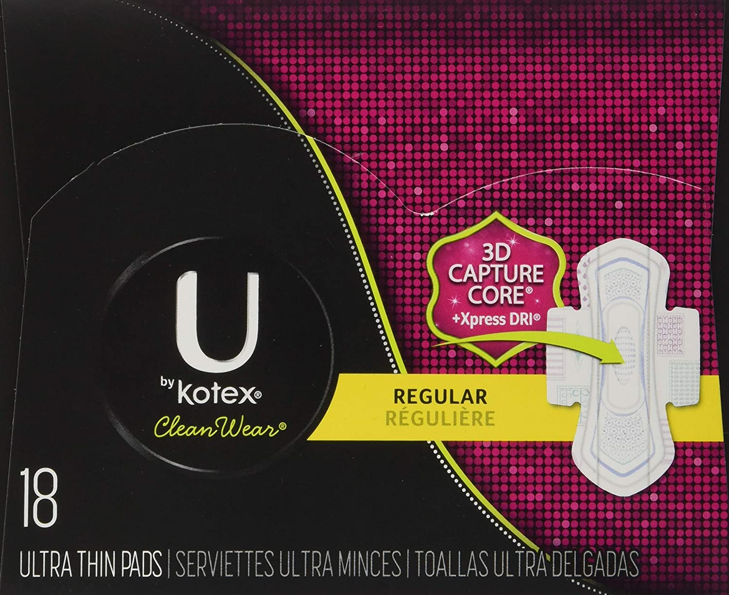 Amazon.com: Kotex U Clean Wear Ultra Thin Pads with Wings, Regular, 18 Count: Prime Pantry