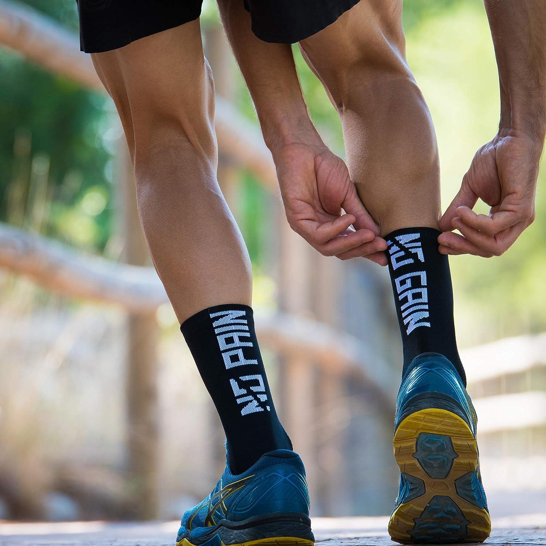 No Pain No Gain Black MTB y Running de Ca/ña Alta para Hombre y Mujer Calcetines para Ciclismo