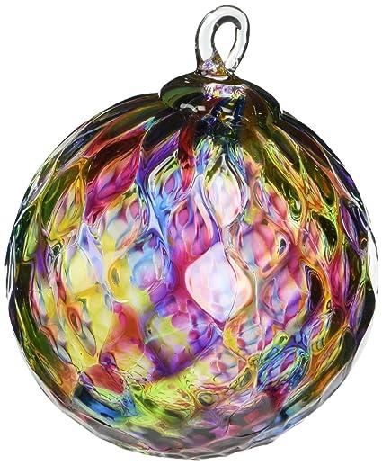 glass eye studio hand blown glass ornament rainbow diamond facet - Glass Eye Studio