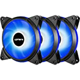 upHere T12 Series 120mm PWM Blue LED Silent Fan for Computer Cases, CPU Coolers, and Radiators,4 Pin 3 Pack/T4BE4-3