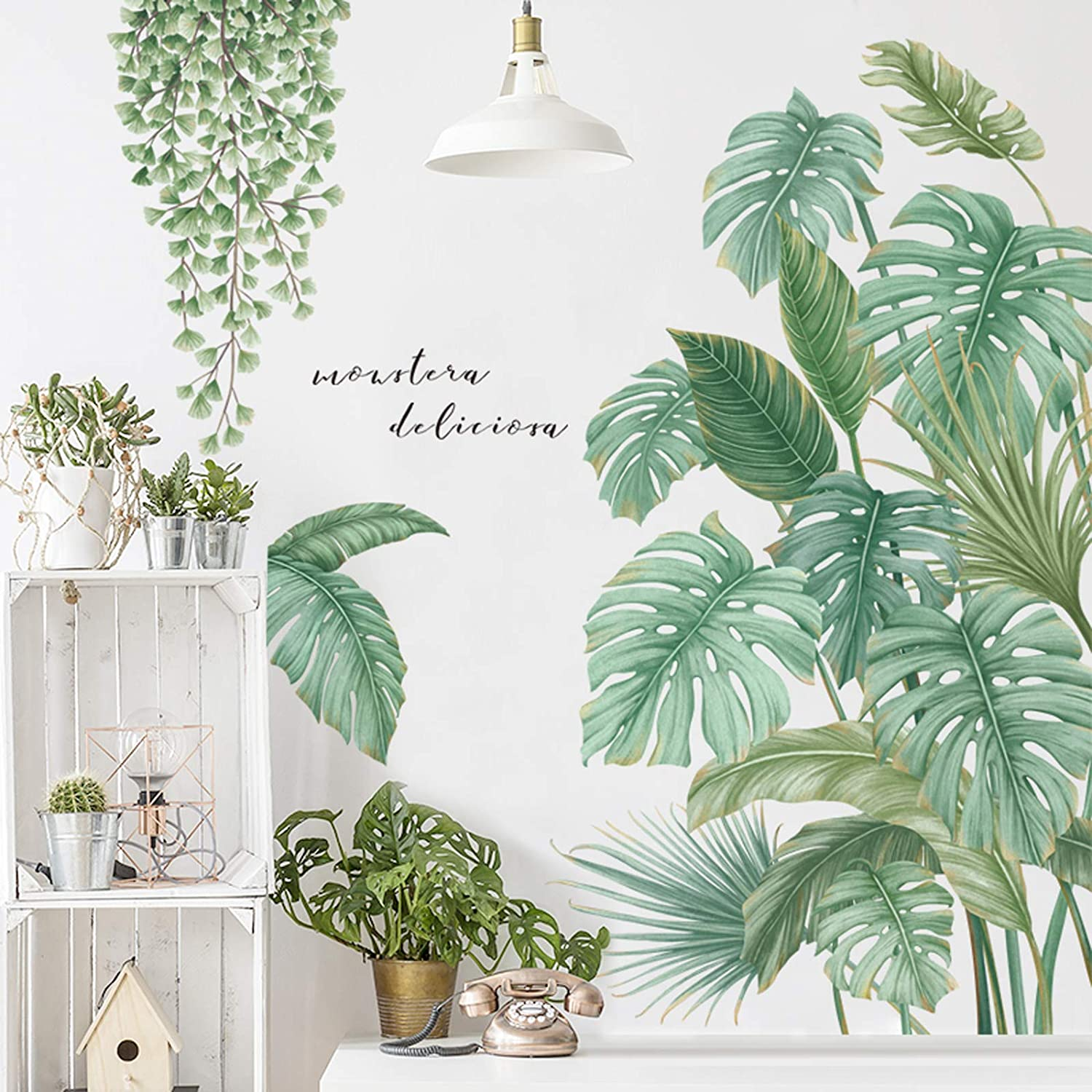 Monstera Leaf Tropical Plants Peel and Stick Wall Stickers Decor, Removable Waterproof 3D Fresh Leaves Wallpaper, Home Nursery Decor Art Murals Paper Decoration for Living Room Office Bathroom