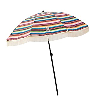 Beach Umbrella, Las Brisas with Fringe, Designed by Beach Brella / 100% UV Sun Protection, Lightweight, Portable & Easy to Setup in The Sand and Secure in The Wind