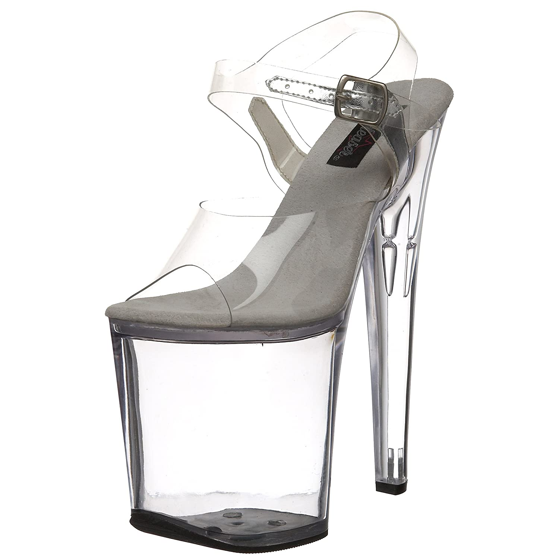 Pleaser Women's Xtreme-808C Platform Sandal B000AQFLYE 8 B(M) US|Clear