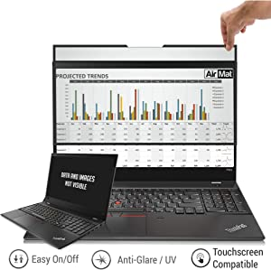 AirMat 15.6 inch Laptop Privacy Screen Filter for Flat Glass Widescreen Displays (16:9) - Easy On/Off - Premium Anti Glare Protector for Data Confidentiality - Tape-Free Installation