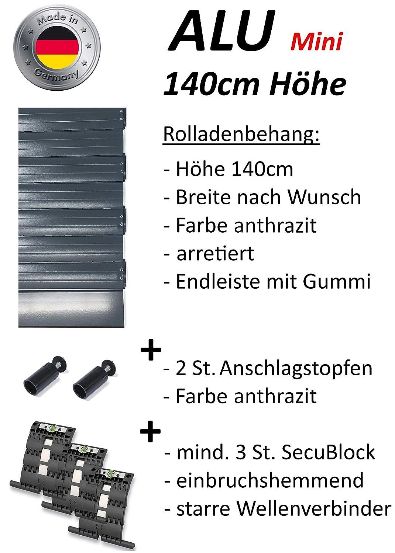 Smarotech® Rolladenbehang Höhe 140cm, Breite 70-119cm aus 8x37mm Alu-Lamelle (100cm Breite x 140cm Höhe, weiß) B07DYXQDLC Fensterlden