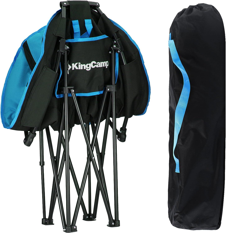 KingCamp Moon soucoupe Chaise camping porte-gobelet cadre en acier pliable rembourré rond
