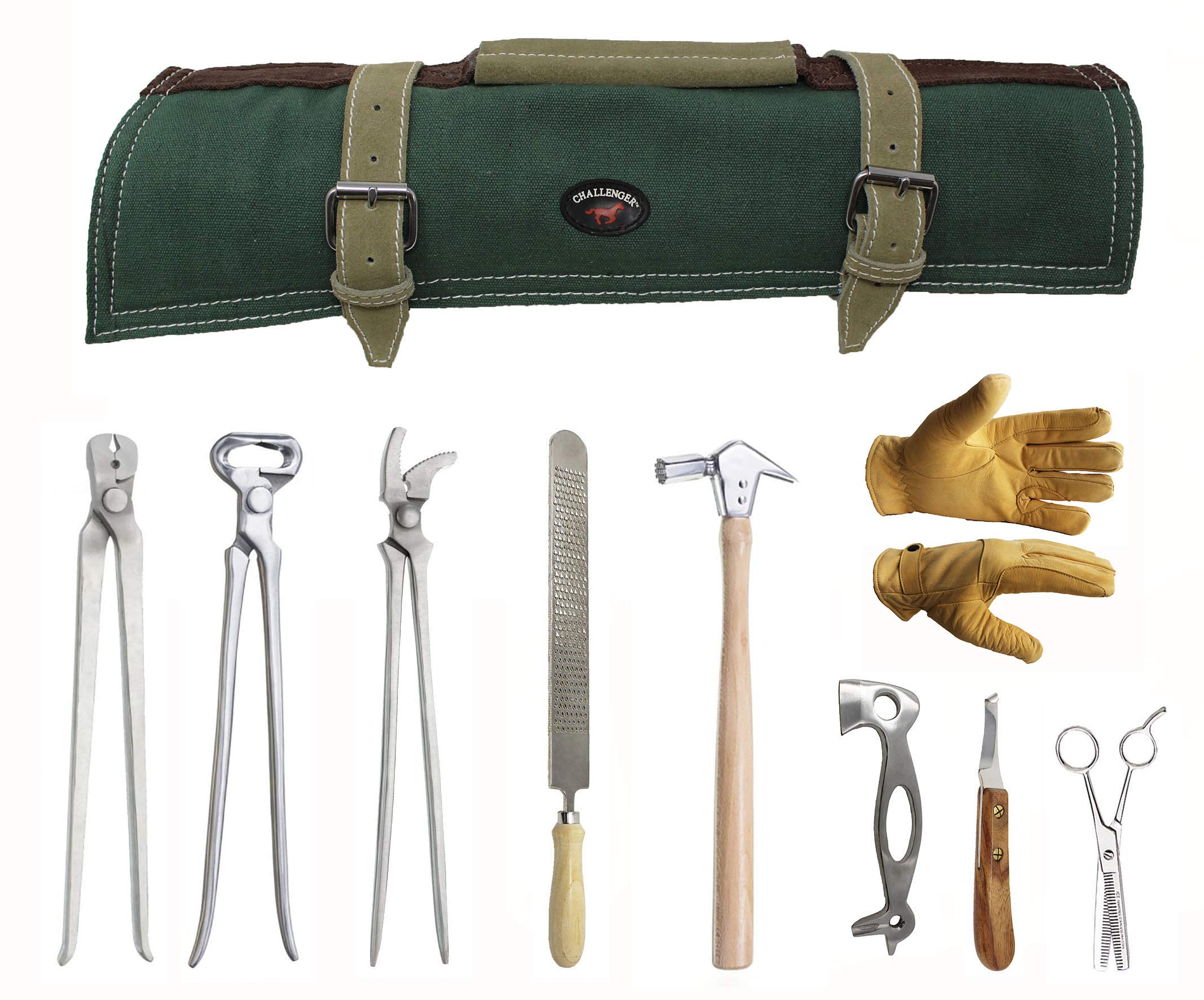 ProRider USA 8 Piece Horse Shoe Farrier Hoof Grooming Tool Kit w/Canvas Carry Bag 98475 by ProRider USA