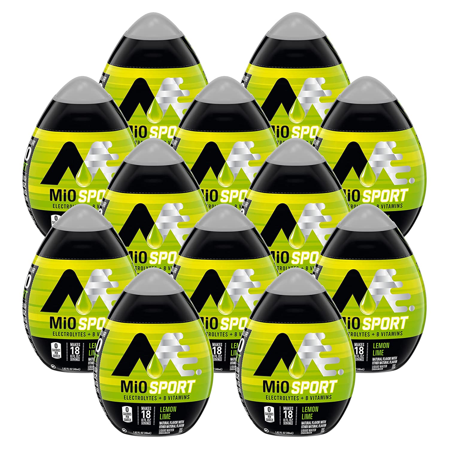 MiO Sport Liquid Water Enhancer, Lemon Lime, Naturally Flavored with Electrolytes & B Vitamins, Caffeine Free, Resealable Bottle, 1.62 fl oz Bottle (Pack of 12)