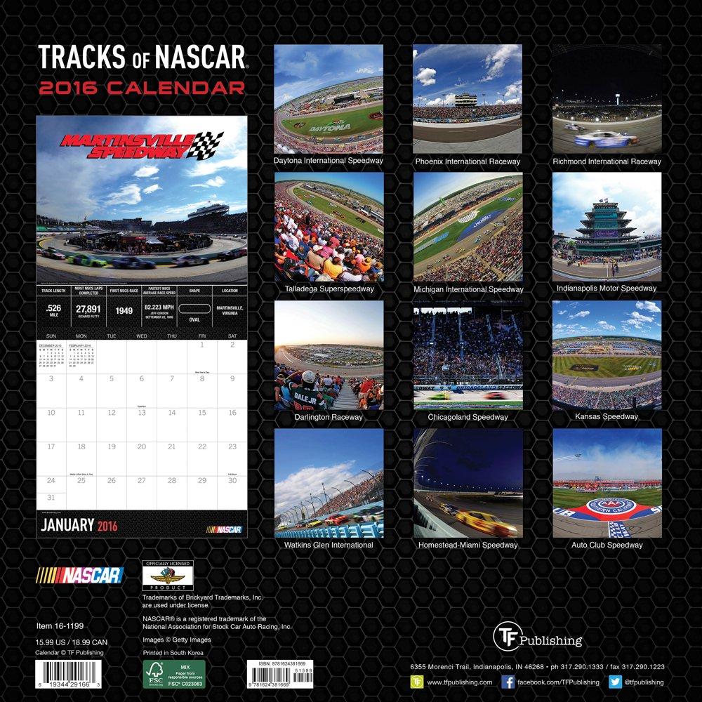 2016 Tracks of NASCAR Wall Calendar: Nascar: 9781624381669: Amazon.com:  Books