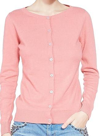 LongMing Ladies 100% Cashmere Cardigan for Women s Winter Slim Long Sleeve  Crew Neck Sweater ( ae0c0f8e7f