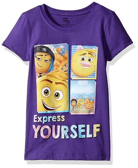 f50fdca7 Emoji Movie Girls' Little Express Yourself Short Sleeve T-Shirt, Purple  Rush 4