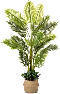 Golden Cane Artificial Palm Tree, 78 Inches Tall - Fake Floor Plant for Modern Home Decor - Living Room, Bedroom, Balcony - Faux Potted Trees for Indoor or Outdoor - Includes Bonus Seagrass Basket