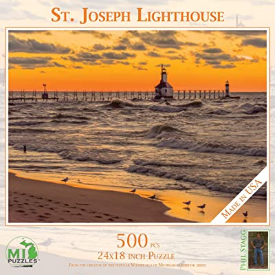 St. Joseph Lighthouse - 500 Piece MI Puzzles Jigsaw Puzzle: Toys & Games