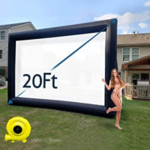 TKLoop 20Ft Mega Inflatable Movie Screen Without Seam - Blow up Movie Projector Screen with UL 350w Blower for Outdoor and Indoor Parties