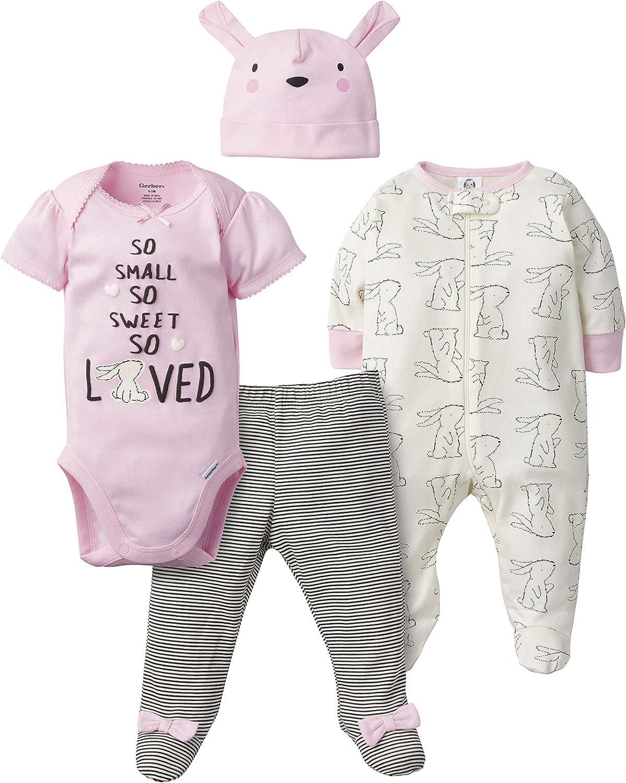Gerber Baby Girls' 4-Piece Sleep 'N Play, Onesies, Pant and Cap