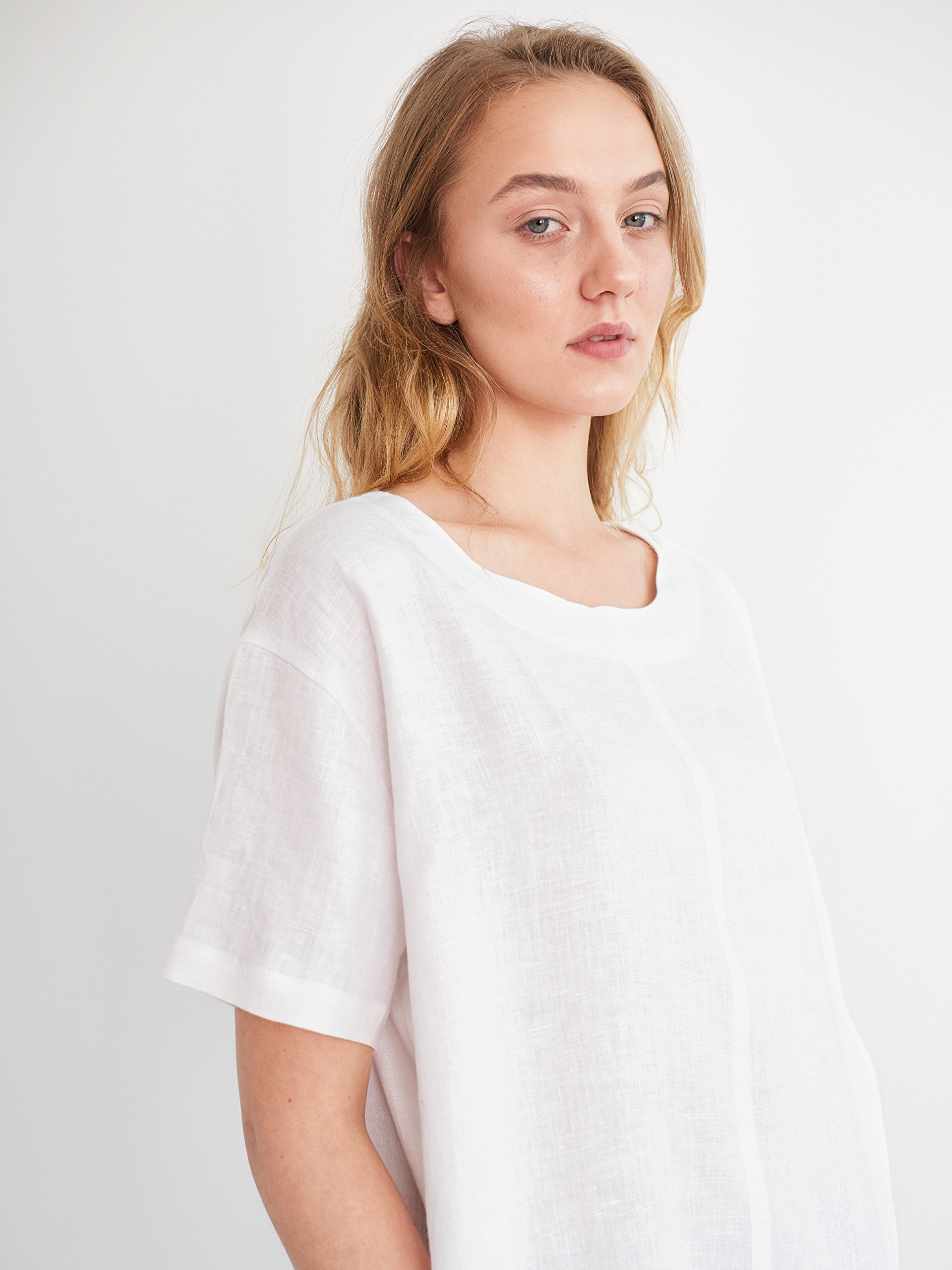 VENICE Linen Tunic Dress in White Short Sleeve Boat Neck Summer Relaxed Loose Fit Ladies Women Pockets