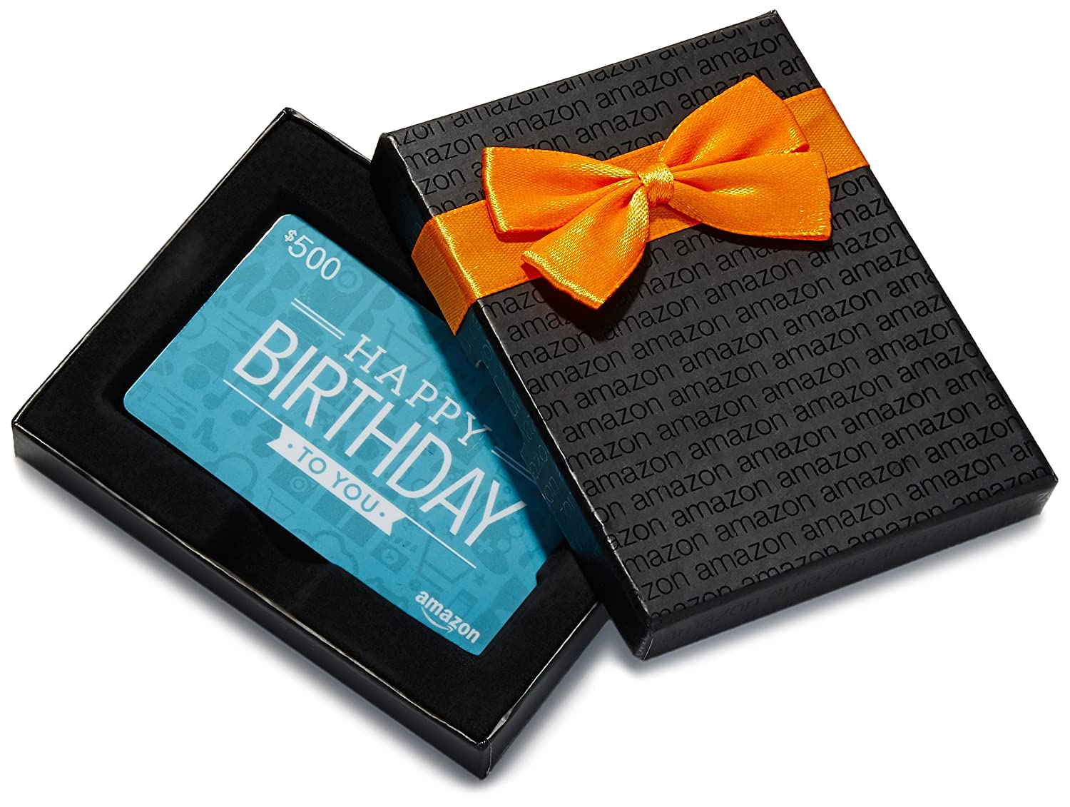 $500 Gift Card in a Black Gift Box (Birthday Icons Card Design)