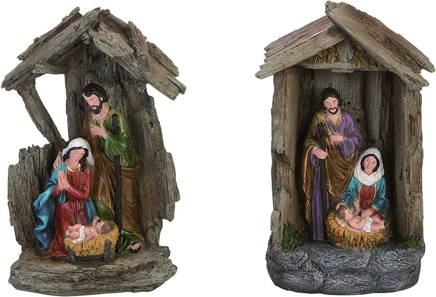 A /& B Floral Holy Family White Red Green 5 inch Resin Stone Christmas Holiday Figurine
