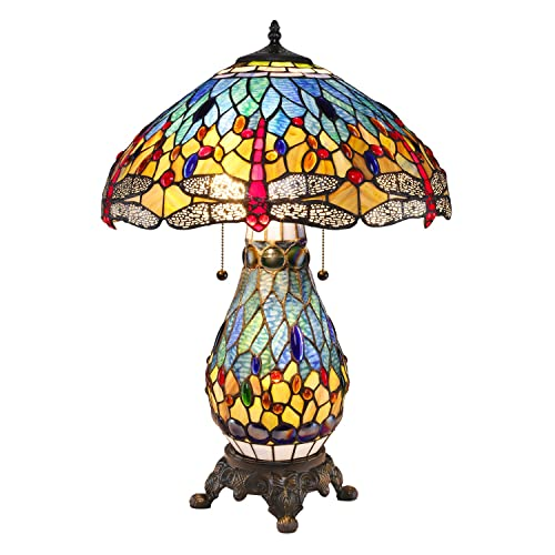 Serena D Italia Elegant Tiffany Style Blue Glass with Red Dragonfly Table Lamp, Handcrafted in The Antique Style of Louis Comfort Tiffany
