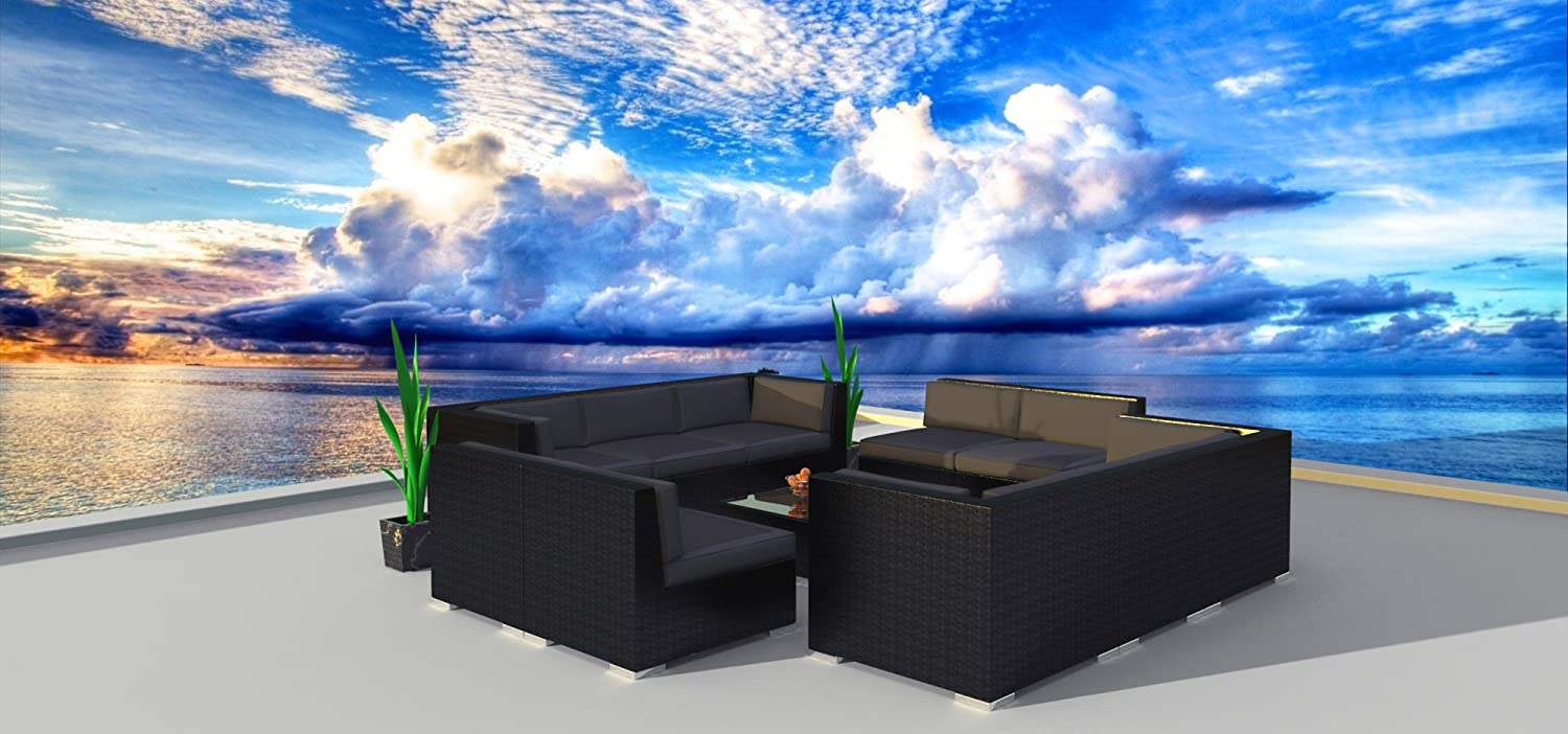 Urban Furnishing.net – Black Series 11a Modern Outdoor Backyard Wicker Rattan Patio Furniture Sofa Sectional Couch Set