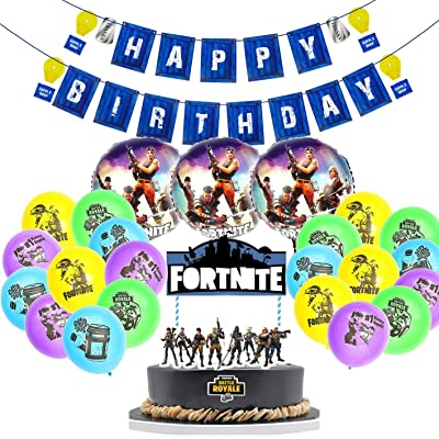 25 PCS Game Party Decoration, CATTA Birthday Party Banner Cake Topper Gaming Favor with Aluminum and Silicone Balloons Gamer Party Supplies: Health & Personal Care