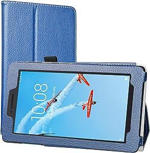Lenovo Tab E7 Case, EpicGadget Lightweight Cover Folio PU Leather Folding Stand Case for Lenovo E7 7 Inch Tablet 2018 (Navy Blue)
