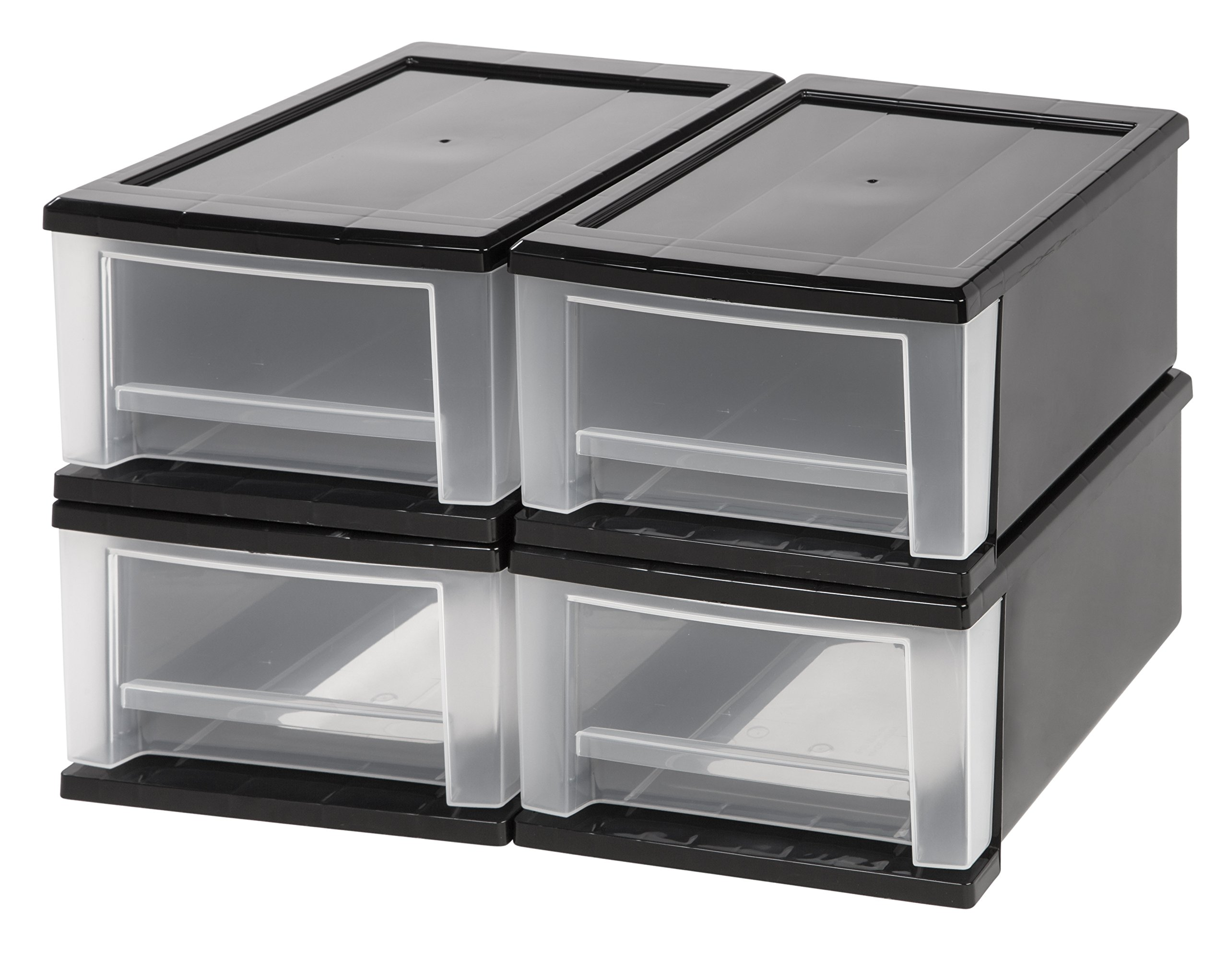 IRIS 7 Quart Stacking Drawer, 4 Pack, Black by IRIS USA, Inc.