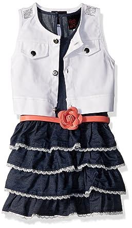 680aec58c3 Amazon.com: Little Lass Baby Girls' 2 Pc Denim Dress & Vest Set ...
