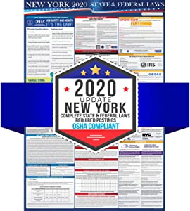 2020 New York State and Federal Labor Laws Poster - OSHA Workplace Compliant 24