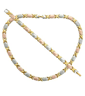 tone ebay gold itm tri valentino chain necklace